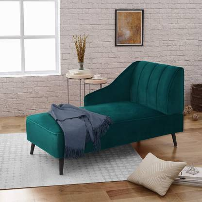 Crome Linen Fabric Living Room Chaise..